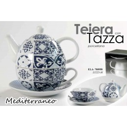 SET TEIERA THE + TAZZA PORCELLANA DECO BLU GRIGIO COLORI ASSORTITI 700958