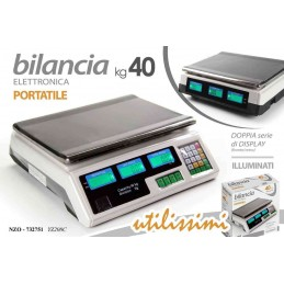 BILANCIA PORTATILE DIGITALE 40 KG DISPLAY FRONTE RETRO BANCO NZP 732751