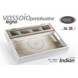 VASSOIO PORTA BUSTINE THE TISANE 36*28 CM LEGNO INDIAN ETNICO TRIBALE ILC 748318