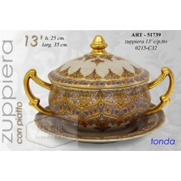 ZUPPIERA COLOR ORO CERAMICA 35*h25 CM ZUPPA RICHIAMO INDIANO ETRUSCO ART 051739