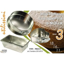 SET 3 TORTIERE APERTURA A MOLLA STAMPO TORTA APRIBILE SMS 586613