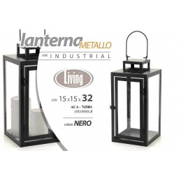 LANTERNA H32*15 CM METALLO NERO INDUSTRIAL PORTACANDELA tea light ACA 765001