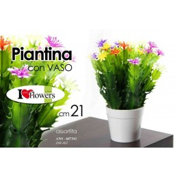 PIANTINA 21 CM FIORI VASETTO VASO PIANTA FINTA ARTIFICIALI ASSORTITI ANS 687341