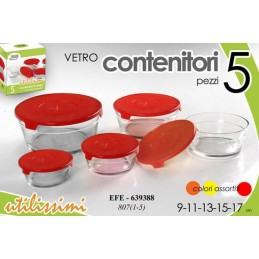 SET 5 CONTENITORI ERMETICI VETRO 9/11/13/15/17 CM FRIGO BOX COLOR ASS EFE 639388